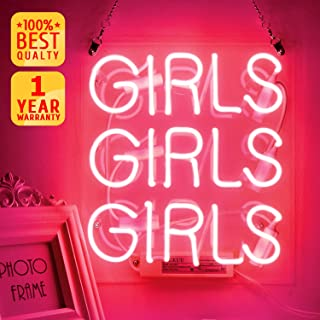 Neon Signs, Pink Neon girls girls girls Signs, Wall Words Sign Light, Handmade Glass Neon Lights, Neon Words for Home Bedroom Room Decor Bar for Party Christmas Holiday Decoration Sign 11.8'' x 10.6''