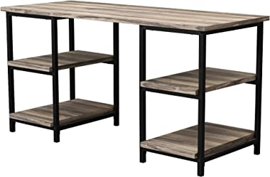 GOOD & GRACIOUS Computer Gaming Home Office Work Desk, Modern Simple Style 59'' Long Large Study Table, Workstation Desk with Storage 4 Open Shelves, Rustic Wood Top + Black Metal Leg