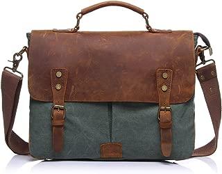 SGJFZD Men's Messenger Bag Shoulder Bag Retro with Crazy Horse Skin Official Document Canvas Bag Computer (Color : Bronze, Size : M)