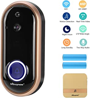 Wireless Video Doorbell Camera, Mbuynow 1080P WiFi Doorbell Home Security Camera with Indoor Chime, Cloud Service, 2 Batteries, Night Vision, 2-Way Talk, Motion Detection for iOS Android Phone(Gold)