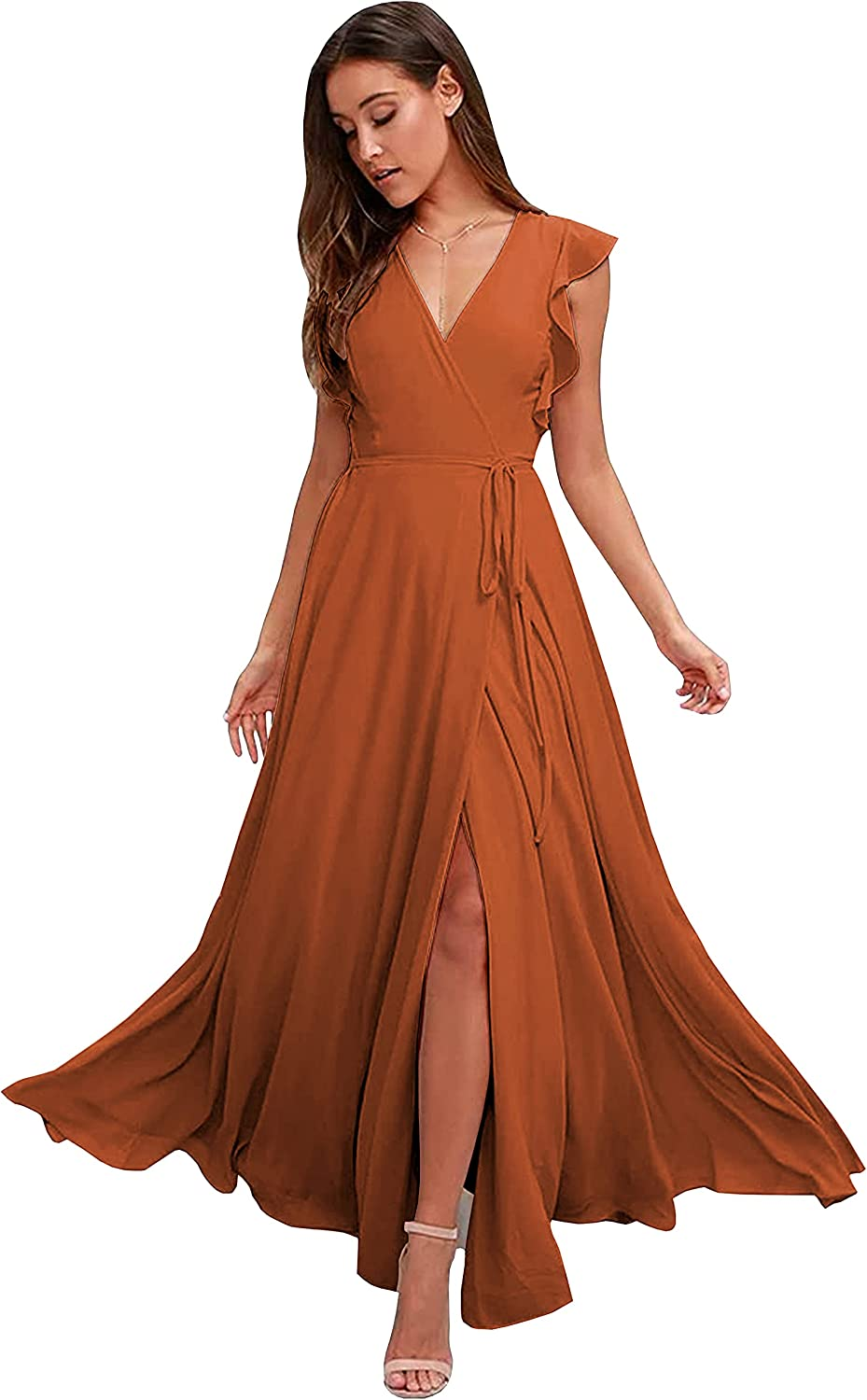 Women's V Neck Slit Bridesmaid Dress with Ruffle Sleeves A Line Chiffon Long Formal Evening Party Gowns