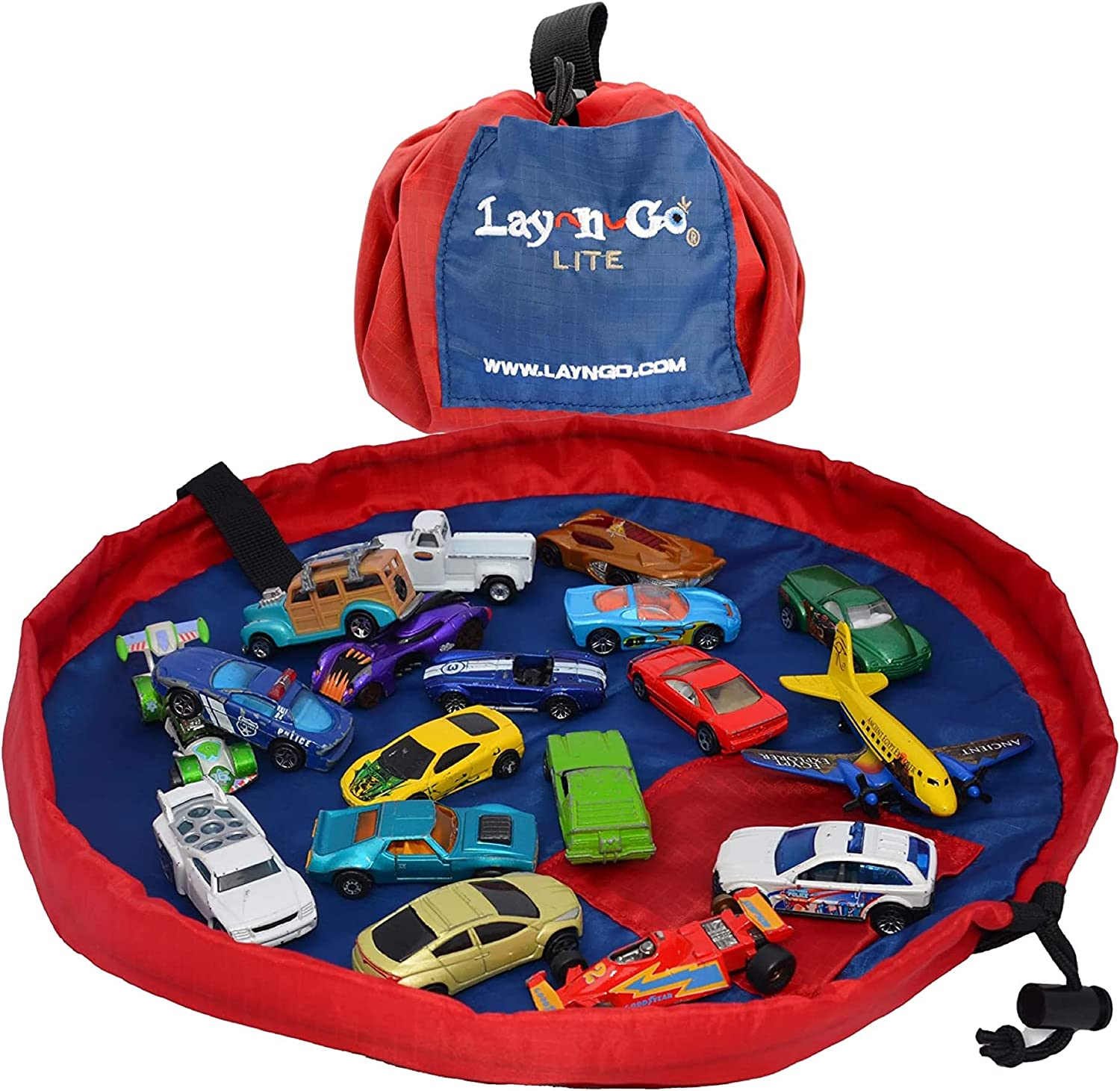 Lay-n-Go 2-in-1 Small Portable Drawstring Toys Storage Organizer and Play Mat for Room and Travel, Made for Kids and Toddlers with a Durable Patented Design, 18 inch, Red/Blue