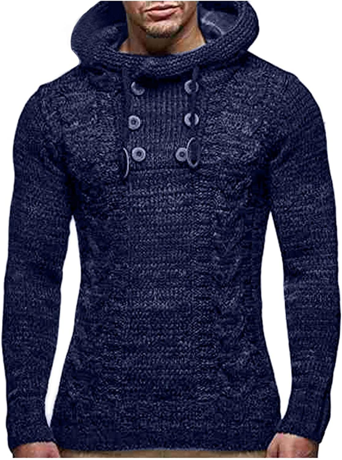 LEIYAN Mens Casual Hoodie Pullover Long Sleeve Turtleneck Loose Fit Cable Knit Thermal Sweater Knitwear