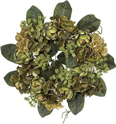 Nearly Natural 4628 Artichoke Wreath, 18-Inch, Green