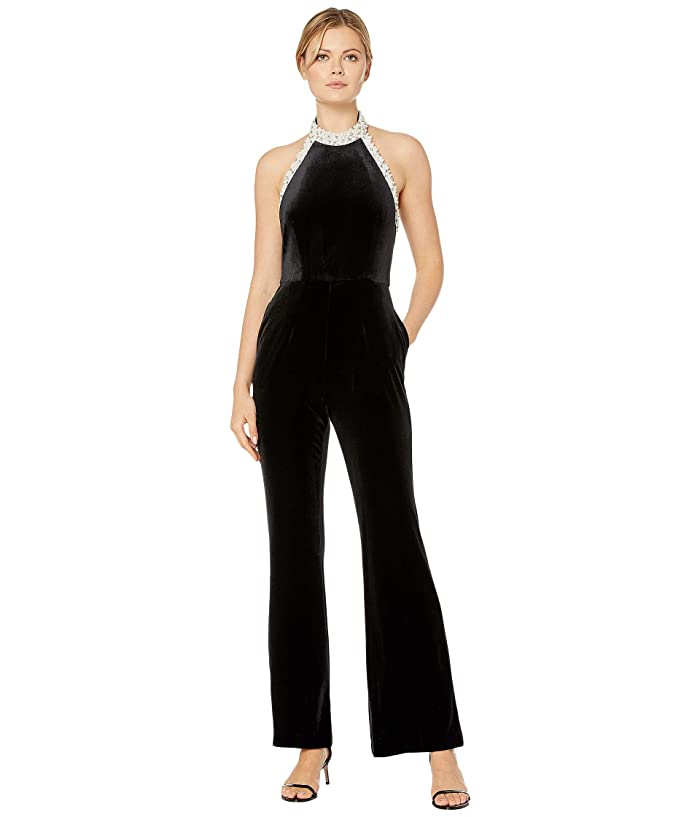 70s Jumpsuit | Disco Jumpsuits, Sequin Rompers Adrianna Papell Halter Wide Leg Velvet Jumpsuit with Pearl Neckline Black Womens Jumpsuit  Rompers One Piece $107.55 AT vintagedancer.com