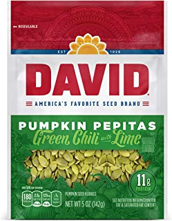 DAVID SEEDS Green Chili with Lime Pumpkin Pepitas Seeds, Keto Friendly, 5 Ounce Resealable Bag, Pack of 8