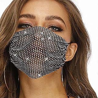 Ushiny - Maschera in rete glitterata nera con cristalli scintillanti, ideale per feste in maschera e feste in maschera, ac...