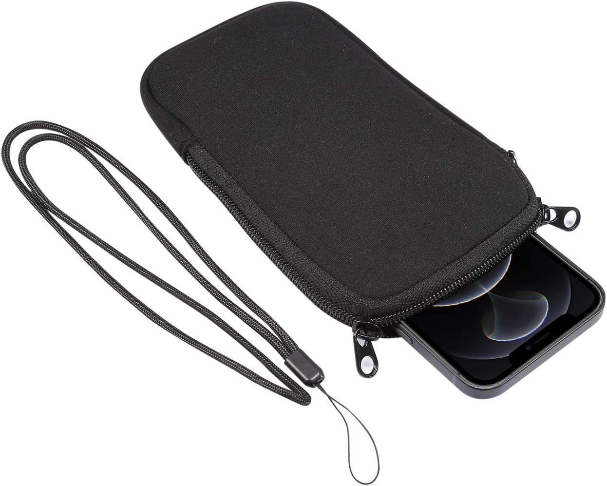 Men Women Neoprene Cell Phone Sleeve Pouch Carrying Case Holder with Neck Lanyard for Samsung Galaxy A10S A30S A10 A20 A50 A31 A51 S10 Plus S9+ / Moto G Power, Stylus, G8 Power Play Plus G7 Z4 (Black)