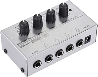 ammoon HA400 Ultracompacto 4 Canales Mini Amplificador Audio Estéreo de Auriculares con Adaptador de Energía