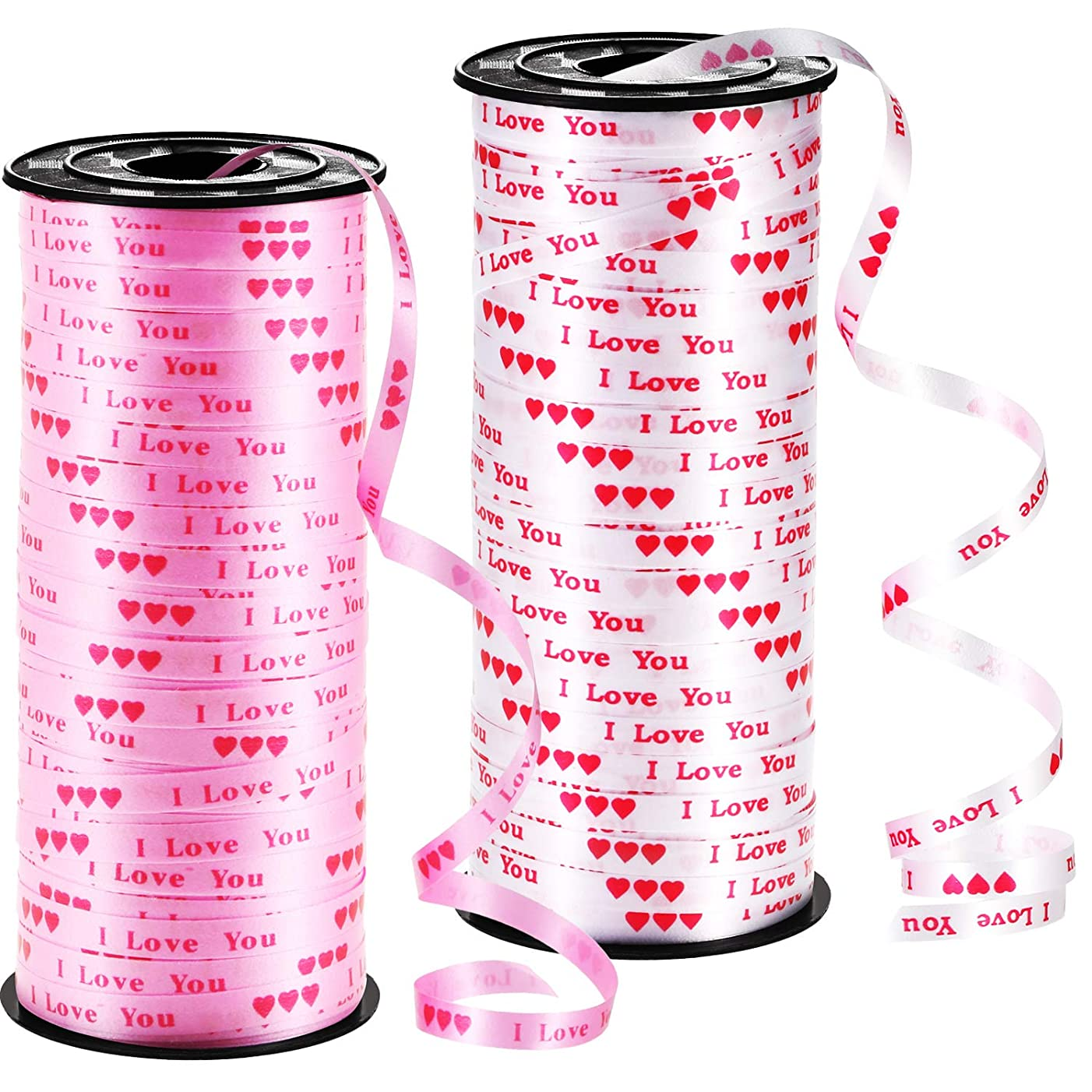 Chengu 2 Pieces Valentine Curling Ribbon Heart Printed Ribbon Love Balloon Curling Ribbon for Gift Wrapping Party Supplies (Pink, White)