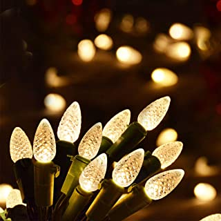 Homeleo 50 Counts Mini Strawberry C3 Christmas Lights, Warm White Battery Powered Clear Lights, Battery Operated Xmas Fairy String Lights for Wreath Christmas Indoor Decoration