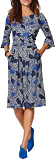 Jusfitsu Women Work Dresses 3/4 Sleeve Casual Business Dress Ruched Women Dresses for Work Midi Office Business Attire