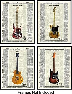 Eddie Van Halen, Slash, Stevie Ray Vaughan, Bruce Springsteen Guitars Wall Art Print Poster Set - Unique Home Decor or Gift for Guitarists or Musicians, (Set of 4) 8x10 Photos Unframed
