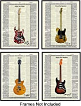 Eddie Van Halen, Slash, Stevie Ray Vaughan, Bruce Springsteen Guitars Wall Art Print Poster Set - Unique Home Decor or Gift for Guitarists or Musicians, (Set of 4) 8x10 Photos Unframed
