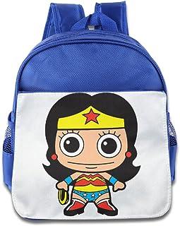 Personalised Girls School Bag WONDER WOMEN SUPERHERO Backpack Name Red KS148