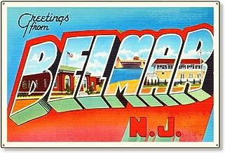 "Belmar New Jersey NJ Postcard Metal Sign Wall Decor Large Letter Travel Greetings Souvenir 36x24"""