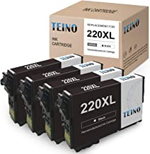 TEINO Remanufactured Ink Cartridges Replacement for Epson 220XL 220 XL T220XL use with Epson Expression Workforce WF-2750 WF-2760 WF-2630 WF-2650 Expression Home XP-420 XP-320 XP-424 (Black, 4-Pack)