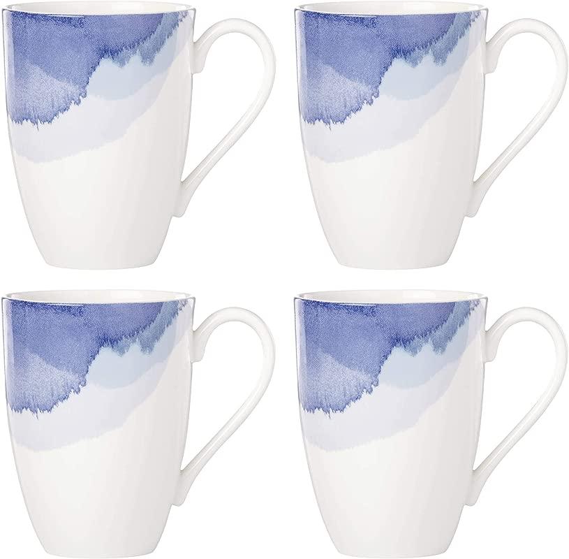 Lenox 885151 Indigo Watercolor Stripe Set Of 4 Mugs
