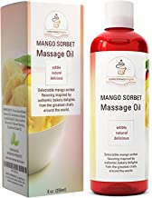 Massage Oil Edible Lube for Women and Men - Mango Sorbet Flavor Body Massage Oil for Healing and Pleasure with Pure Jojoba + Sweet Almond Oil + Coconut Oil for Skin - Anti-Aging Vitamin Moisturizer