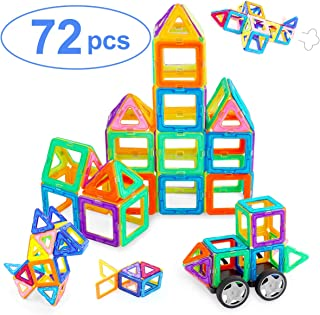 Ranphykx Magnetic Blocks, 72 Pieces Magnetic Building Blocks, Magnetic Tiles Educational Construction for Kids Toys