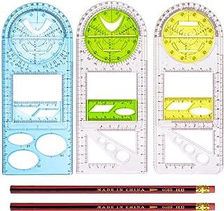 Sponsored Ad - 3PCS Multifunctional Geometric Ruler Drawing Ruler Geometric Drawing Template Measuring Tool (3pcs+2*pencil)