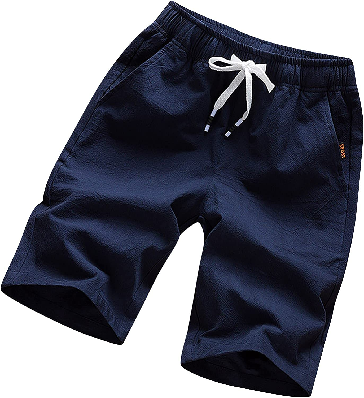 Men's Plus Size Cargo Shorts, Cotton Linen Summer Loose Fit Trendy Elastic Drawstring Multi-Pocket Work Board Shorts