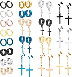 NEWITIN 20 Pairs Stainless Steel Cross Earrings Hinged Earrings Cross Dangle Hoop Cross Earrings for Men and Women