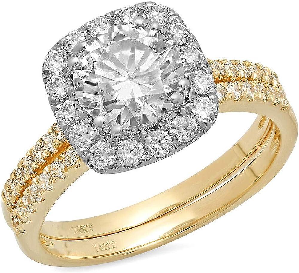 Clara Pucci 2.2 Ct Round Cut Pave Halo Engagement Wedding Bridal Anniversary Ring Band Set 14K Yellow White Gold