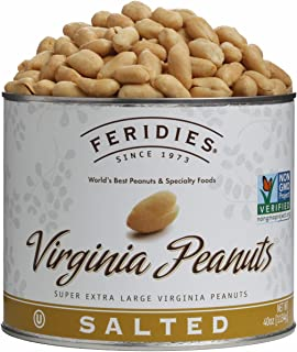FERIDIES Salted Super Extra Large Virginia Peanuts - 40oz Vacuum Sealed Tin