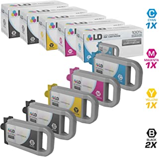 LD Compatible Ink Cartridge Replacement for Canon PFI-706 (2 Black, 1 Cyan, 1 Magenta, 1 Yellow, 5-Pack)