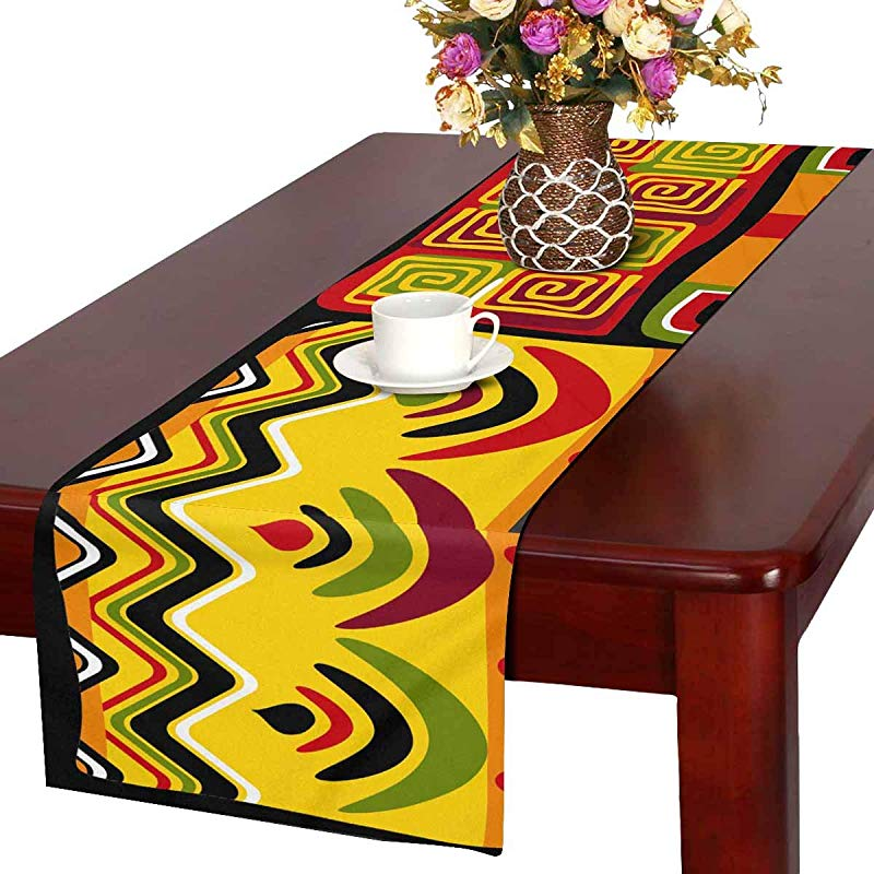 INTERESTPRINT Rectangle Table Runner For Family Dinners Or Gatherings Parties African Design Elements 14x72