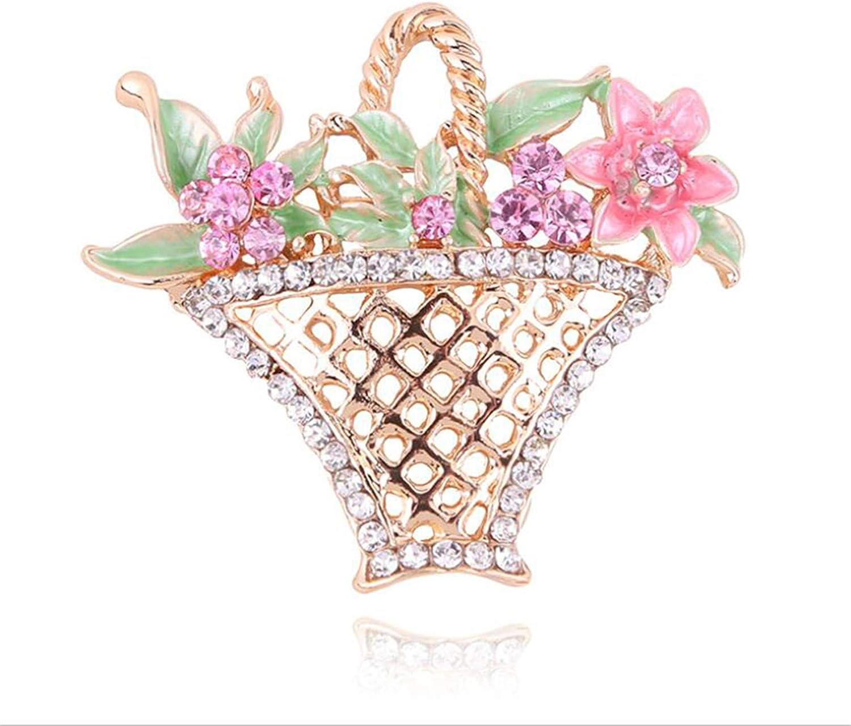 LKEEP Hollow Flower Basket Rhinestone Brooch Colorful Rhinestone Flower Brooch Stylish Women Corsage Accessories