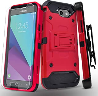 Samsung Galaxy J3 Luna Pro/J3 Eclipse/J3 Emerge/J3 Mission/J3 Prime/Express Prime 2/Amp Prime 2/Sol 2/J3 2017 Case, with Tempered Glass Screen Protector, Heavy Duty Cover and Kickstand Belt Clip-Red