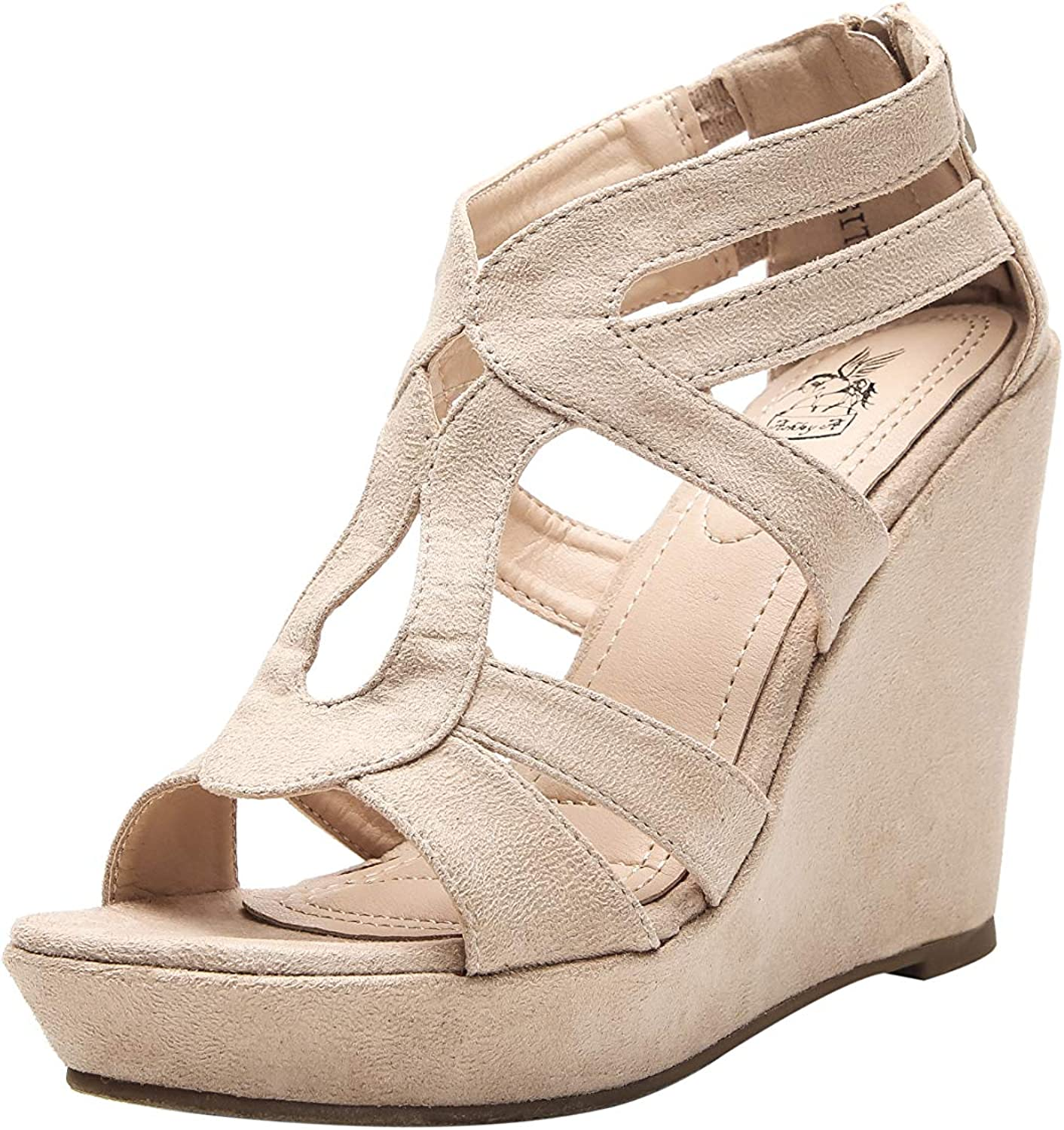 Ashley A Product A-LISA40 Zippered Credence Strappy Toe Wedges Open Heel Platform