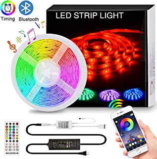 Bluetooth LED Strip Lights Music Sync, 16.4FT/5M RGB LED Light Strips for Bedroom 5050 150LEDs Color Changing Neon Lights APP Controlled Dimmable Tape Lights for TV, Bedroom,Party and Home