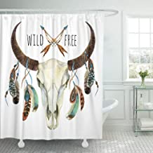Abaysto Colorful Boho Cow Skull Animal with Feathers Buffalo White Wild and Free Design Watercolor Hand Deer Polyester Fabric Shower Curtain Sets with Hooks Waterproof Mildew Bathroom Decor