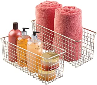 mDesign Bathroom Metal Wire Storage Organizer Bin Basket Holder with Handles - for Cabinets, Shelves, Closets, Countertops, Bedrooms, Kitchens, Garage, Laundry - 16
