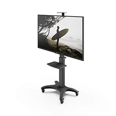 Kanto MTMA65PL Height Adjustable Mobile TV Mount with Adjustable Shelf for 32-inch to 65-inch TVs