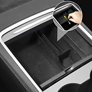 XTAUTO Center Console Organizer Tray Fit for 2021 Tesla Model 3/Y Armrest Storage Box Cubby Drawer Container 2021 Tesla Mo...