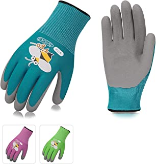 Vgo 3Pairs Age 7-9 Kids Gardening,Lawing,Working Gloves,Foam Rubber Coated(Size XS,3 Colors,KID-RB6013)