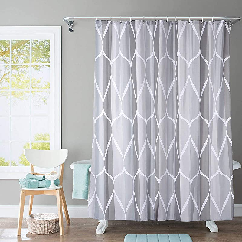 JRing Shower Curtain Polyester Fabric Waterproof Machine Washable With 12 Hooks 72x72 Inch