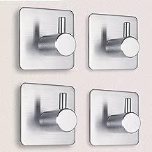 Adhesive Hooks, Heavy Duty 3M Hooks SUS 304 Brushed Stainless Steel Waterproof Wall Hooks Organizer Super Power Wall Mount Hanging Rack for Robe Coat Towel Keys Bags - Home Kitchen Bathroom 4-pack by Eisonlife