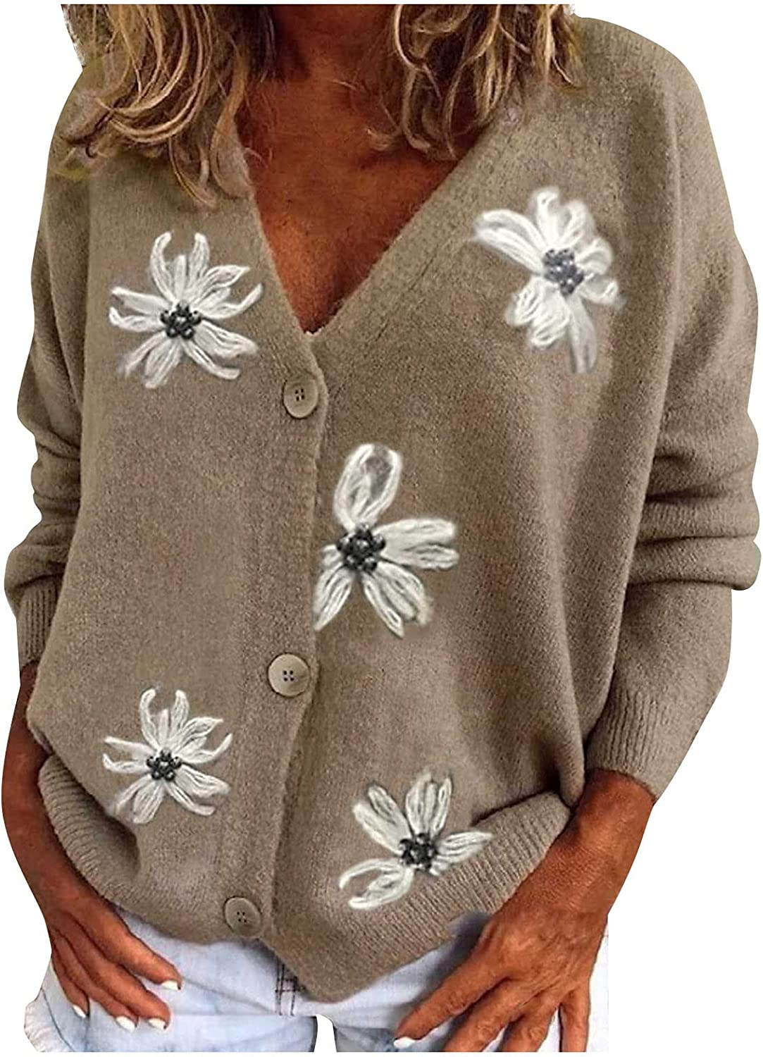 Womens Floral Print Baggy Knitwear Sweater Casual Blouse Button Down Long Sleeves Knitted Sweater Cadigans Jumper Coat