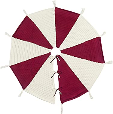 LimBridge Christmas Tree Skirt, 48 inches Umbrella Shape Knitted with Tassels, Thick Rustic Xmas Holiday Decoration, Cream and Burgundy
