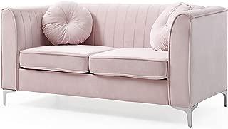 Glory Furniture Delray Loveseat, Pink. Living Room Furniture, 32