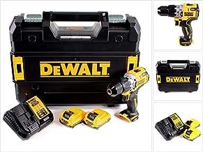 DEWALT DCD706D2-QW DCD706D2-QW-Taladro Percutor sin escobillas XR 12V 10mm 57,5Nm con 2 baterías Li-Ion 2Ah y maletín TSTAK, Schwarz/Gelb