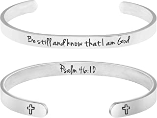 MEMGIFT Religious Jewelry Gifts for Women Bible Verse Bracelet Be Still and Know That I am God