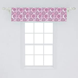 Ambesonne Mandala Window Valance, Rosette Ornaments Middle Eastern Persian Style with Pastel Effects, Curtain Valance for Kitchen Bedroom Decor with Rod Pocket, 54