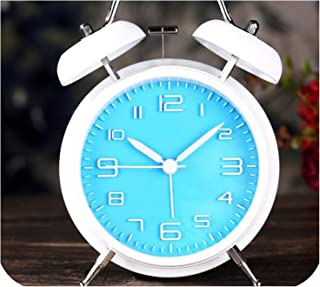 sunnyday-shop South Korea Cute Metal Alarm Clock Silent Creative 4 inch Garden Digital Bedside Alarm Clock,Blue