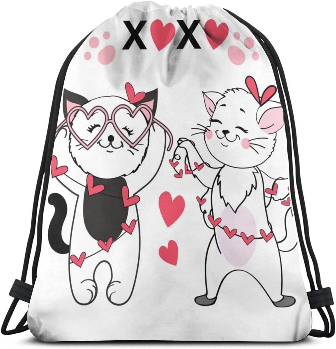Cats Couple Hold Hearts Drawstring Water unisex String Bag Low price Gym Backpack